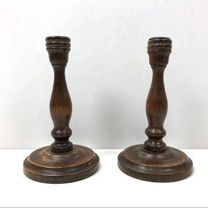 Pair of vintage wood candlesticks